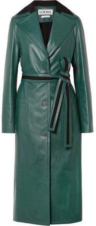 Oversized Paneled Leather Coat - Green