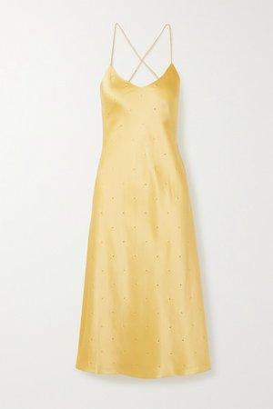 Michelle Mason   Open-back crystal-embellished silk-satin midi dress   NET-A-PORTER.COM