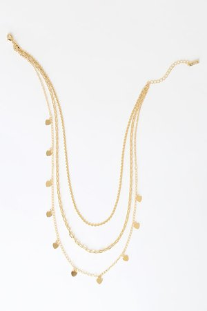 Chic Gold Necklace - Gold Heart Necklace - Layered Necklace