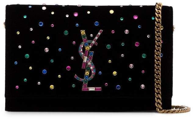 Black Kate Crystal Embellished Velvet Chain Bag