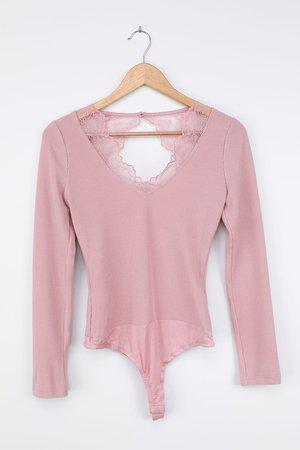 Sexy Blush Pink Bodysuit - Open Back Bodysuit - Lace Bodysuit