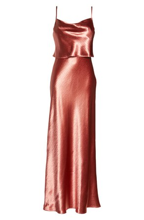 WAYF The Narcissa Popover Cowl Neck Satin Gown | Nordstrom