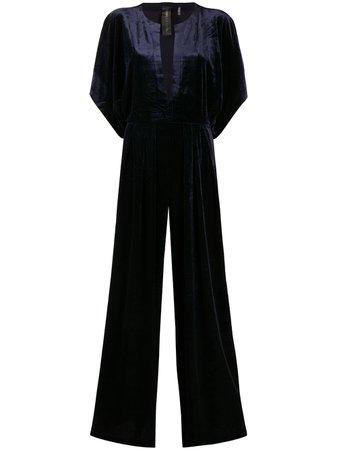 Blue Norma Kamali plunge neck velvet jumpsuit - Farfetch