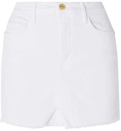 Le Mini Distressed Denim Skirt - White