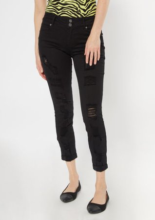 Black Ripped Rolled Cuff Skinny Jeans | Skinny Jeans | rue21