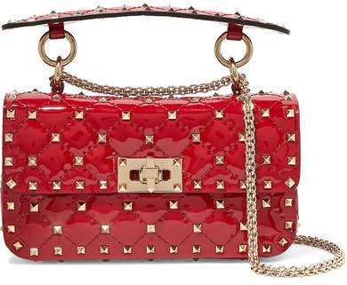 Garavani The Rockstud Spike Small Quilted Patent-leather Shoulder Bag - Red