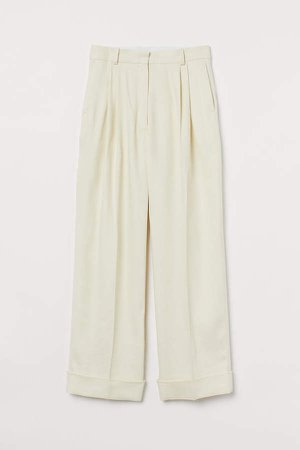 Wide-leg Twill Pants - Beige