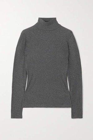 Net Sustain Kaye Ribbed Organic Cotton-jersey Turtleneck Top - Gray