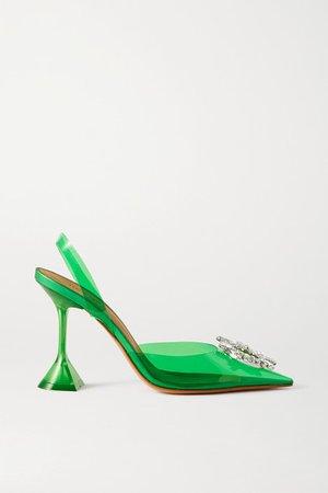 Begum Crystal-embellished Pvc Slingback Pumps - Emerald