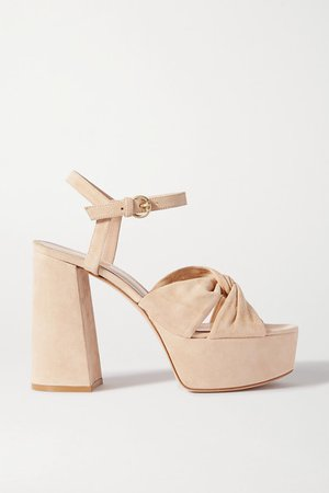 110 Suede Platform Sandals - Neutral