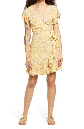 Wrap & Roll Floral Ruffle Wrap Minidress   Nordstrom