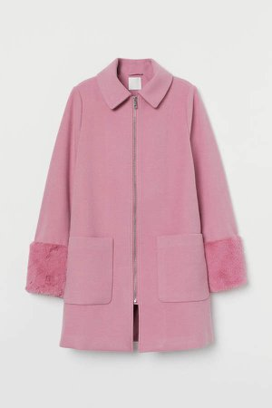 Coat with Faux Fur - Pink