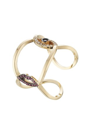 18kt Gold Ring with Rubies, Diamonds and Sapphire Gr. One Size