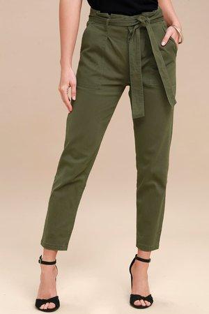 Chic Olive Green Pants - Cropped Pants - Tie-Waist Pants - Lulus