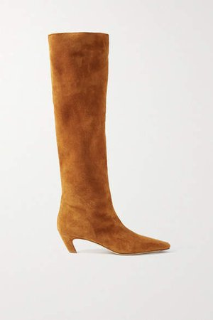 Suede Knee Boots - Light brown