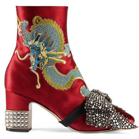 GUCCI DRAGON SATIN MID-HEEL ANKLE BOOT ($2,980)