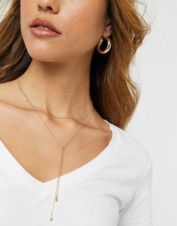 & Other Stories multi layer pendant necklace in gold | ASOS