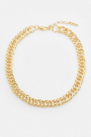Gold Plated Pave Chain Necklace | Karen Millen