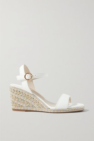 Lucita Leather Espadrille Wedge Sandals - White