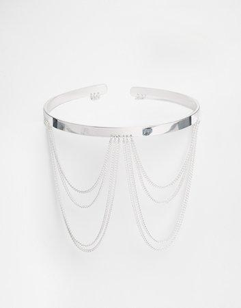 silver arm cuff with chain - Google Search