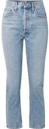 AGOLDE - Riley Cropped High-rise Straight-leg Jeans - Light denim
