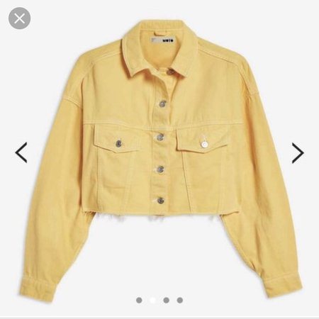 Topshop yellow cropped denim jacket Size 8 Worn... - Depop