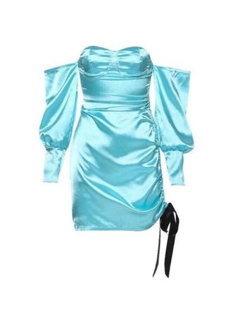 Bright blue satin off the shoulder long sleeve dress