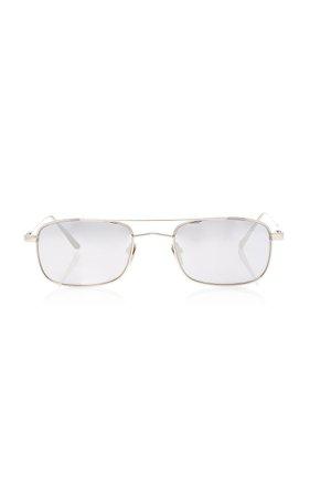 Linda Farrow White Gold Titanium Aviator Sunglasses