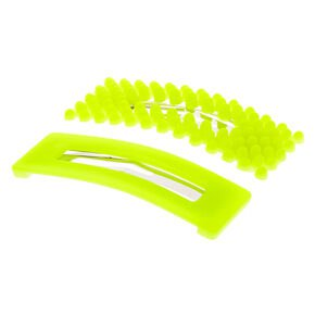 Neon Yellow Large Snap Hair Clip - Claire's US