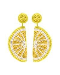 Kenneth Jay Lane Beaded Lemon Slice Drop Earrings in Yellow - Lyst