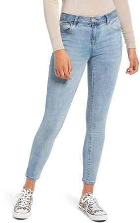 Mid Rise Organic Cotton Blend Ankle Skinny Jeans