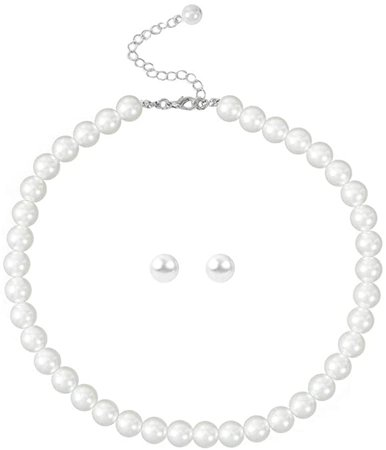 Amazon.com: Faux Pearl Necklace and Stud Pearl Earring Set, Gifts for Women Collar Jewelry: Clothing