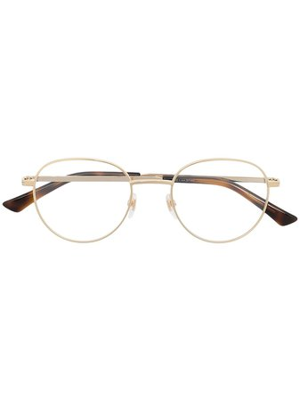 Gucci Eyewear Striped round-frame Glasses