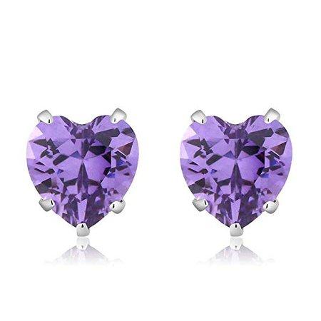Amazon.com: 925 Sterling Silver Purple CZ Stud Earrings (3.00 cttw, 6MM Heart Shape): Silver Ring Purple Stone: Jewelry
