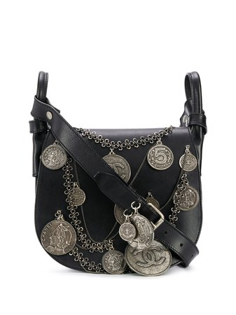 Chanel Pre-Owned 2003 Medallion Coins Saddle Bag DPHA1219CHABAG1 Black | Farfetch