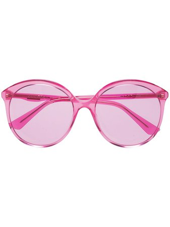 Gucci Eyewear Fuchsia Pink Specialized Fit Round Frame Sunglasses