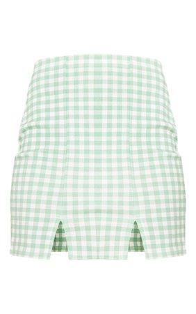 Mint Gingham Slit Front Mini Skirt | Skirts | PrettyLittleThing