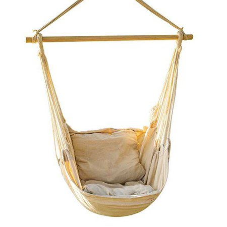 Amazon.com: EverKing Hanging Rope Hammock Chair Porch Swing Seat, Large Hammock Net Chair Swing, Cotton Rope Porch Chair for Indoor, Outdoor, Garden, Patio, Porch, Yard - 2 Seat Cushions Included (White): Home & Kitchen