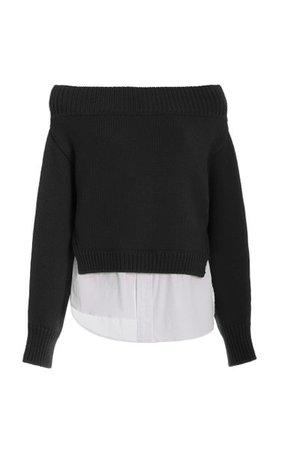 Off-The-Shoulder Shirt Tail Merino Wool Sweater By Monse | Moda Operandi
