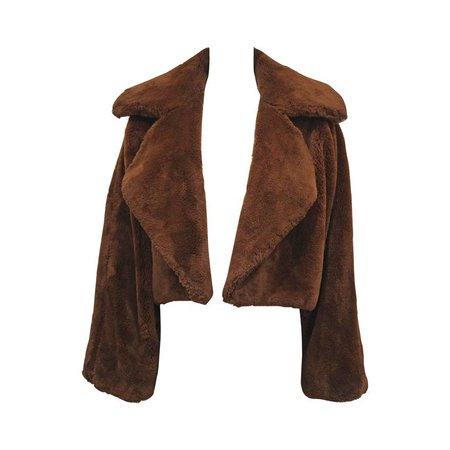 Oversized teddy bear faux fur bolero jacket, c. 1990s For Sale at 1stdibs