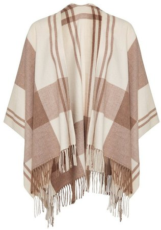 Beige Check Print Brushed Cape