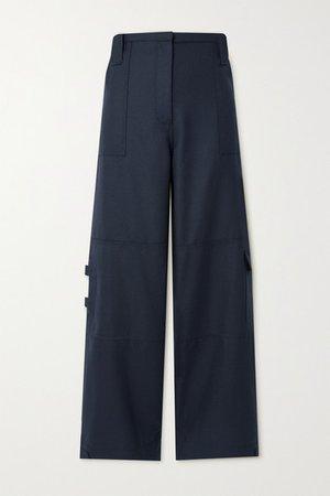 Wool-blend Wide-leg Pants - Navy
