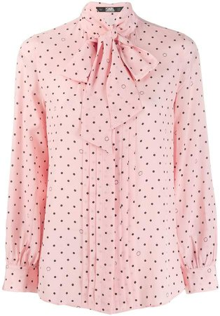 pussy bow dotted shirt