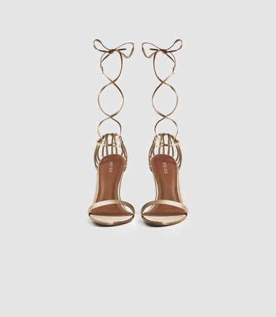 Zhane Gold Satin Strappy Wrap Sandals – REISS