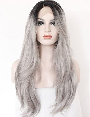 Amazon.com : K'ryssma Ombre Gray 2 Tones Synthetic Lace Front Wig Dark Roots Long Natural Straight Silver Grey Replacement Hair Wigs For Women Heat Resistant Fiber Hair Half Hand Tied 22 Inches : Beauty