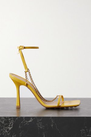 Chain-embellished Leather Sandals - Yellow