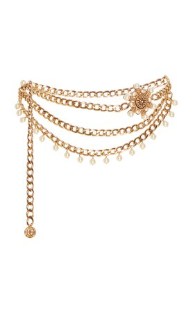 Valeria Gold-Plated Pearl Chain Belt by Markarian   Moda Operandi
