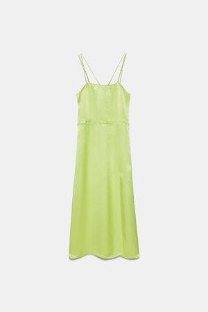SATIN DRESS | ZARA United States green