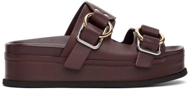 Purple Freida Double Buckle Platform Sandals