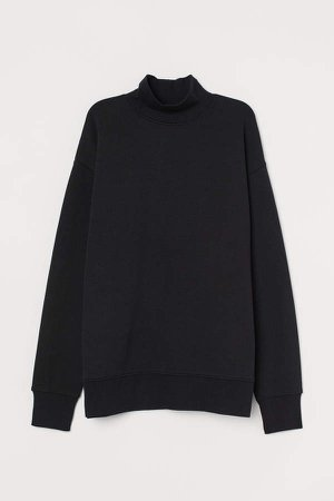 Mock-turtleneck Sweatshirt - Black